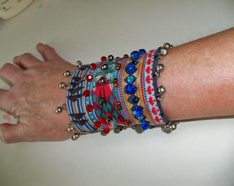 Fabric cuff bracelet, Tribal wrist cuff bohemian jewelry  gypsy cuff, Beaded cuff, ethnic cuff, African jewelry gift, music festival jewelry