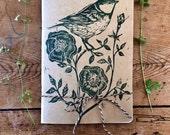 Hand printed bird & wold rose sketchbook