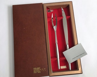 Boxed Stainless Carving Set by Kalmar, Italy - Mid Century Modern - MCM - Knife and Fork