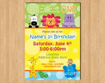 Jungle invitation Safari Friends Invite Safari Invite Safari invitation Jungle Invite 1st Birthday Boy invite Birthday Party Invitation