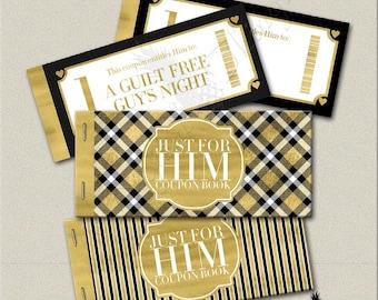 Faux Gold Foil Printable Coupon Book Fathers Day Gift Coupons Gift For Dad Coupons Gift For Him Husband Boyfriend Digital Download DT1841