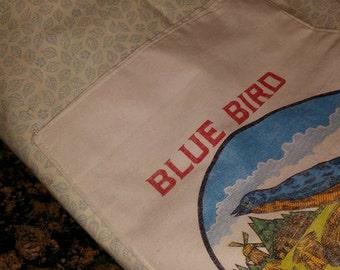 Large Flour Sack and Leaf Print Shopping Bag