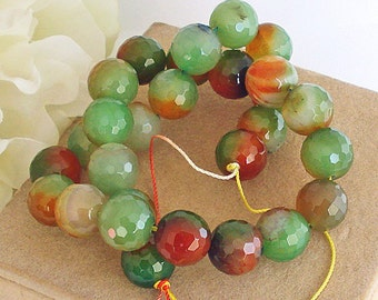 Strand Banded Green Agate 14mm Faceted Agate Beads