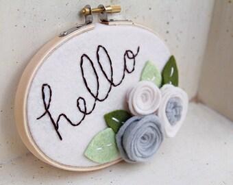 Nursery Wall Art, Hello Sign Felt Embroidery Hoop Art, Cursive Name Sign, Neutral, Felt Flowers, Baby Shower Gift, Housewarming, Shabby Chic