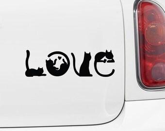 "CAR - Cats Spell LOVE - Car Vinyl Decal Sticker - (6""w x 2""h) Copyright © Yadda-Yadda Design Co. (Color Variations Available)"