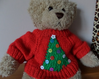 Christmas Teddy Bear Sweater - Hand knitted - Red Christmas Tree - fits Build a Bear