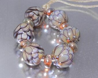 Tawny Lotus Lampwork Bead Set