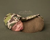 ready to ship, newborn photography prop, upcycled camo hat with buttons, newborn baby boy girl prop, newborn sleep cap, baby shower gift