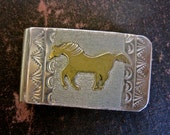 Sterling Silver Money Clip Primitive Tribal Horse Design Vintage Hand Crafted Artisan Southwestern Mens Man Native American 12K Gold Filled