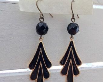 Vintage black crystal chevron drop earrings