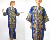 70s Dashiki Dress Bell Sleeve Gold Threaded Cobalt Blue Bohemian Festival Dress