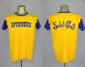 60s 'Solid Gold Spinners' Rayon Jersey Blue and Gold Mason Athletic Wear T Shirt