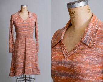 70s Sunburst Sweater Dress Orange Knit Bohemian Knit Dress