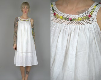 70s Mexican White Cotton Floral Crochet Peasant Babydoll Dress