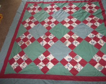 "Vintage Hand Made PATCHWORK Quilt Top...Cottage Chic...Primitive 68"" Square..Free SHIPPING"
