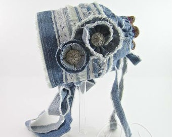 Ava upcycled denim baby bonnet, baby bonnet, denim bonnet, newborn photo prop, denim baby bonnet