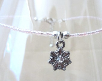 Charm Anklet, Pink Glass Bead Anklet w/Snowflake Charm, Seed Bead Anklet, Ankle Bracelet, Handmade Beaded Jewelry, Winter Wedding Jewelry