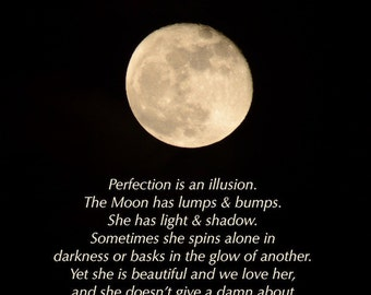 Perfection is an Illusion, Golden Moon photograph with quotation, word art, positive thinking, inspiring words, self improvement, moon photo