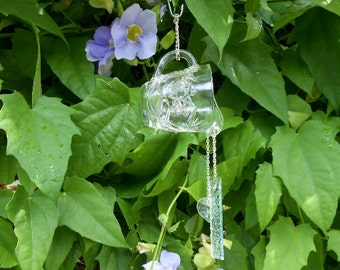Recycled EAPG Pitcher or Creamer, Glass Wind Chime, Stained Glass Windchime, Recycled Depression Glass, Glass Yard Art, Unique Suncatcher