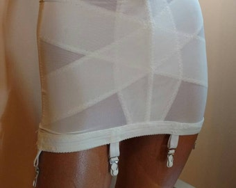 1950s 1960s White Girdle with Garter Clips