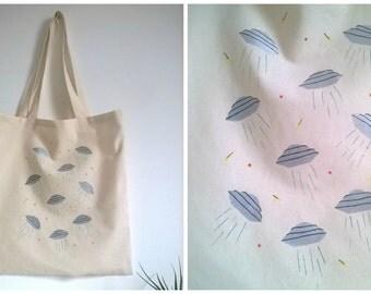 Ufo tote bag. Hand sew, hand printed