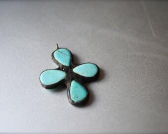 Turquoise stone soldered pendant cross