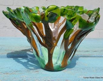 Tree of Life Glass Art, Fused Bowl,  Kiln Formed Glass SRAJD, GBUK, fhf