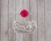 Baby Girl Ruffle Bottom Bloomer & Headband Set in Gray and Pink - Newborn Photo Set - Infant Bloomers - Diaper Cover - Baby Gift - Birthday