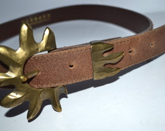 Vintage  brown genuine leather Express belt brass buckle  unique buckle Unisex sun fire belt size Small. Made in Italy belt