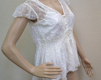 90's Vintage Papillon Los Angeles Sheer white lace Blouse, Holiday  Edwardian Victorian Clothing Christmas party  designer blouse Mad Men