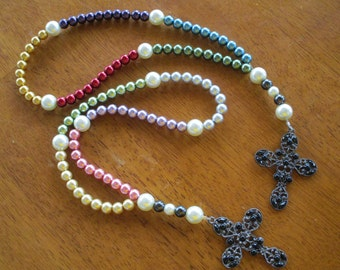 Rosary Pearl Glass Beads Shimmery Catholic Bridesmaids Gift