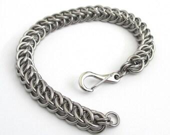Stainless steel chainmail bracelet, steel jewelry for men or women, half Persian 3 in 1 weave