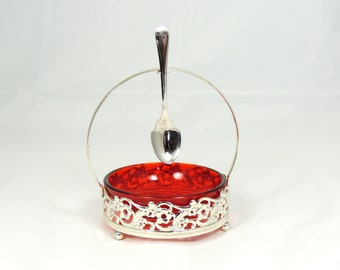Vintage Preserves Dish Red Glass Bowl