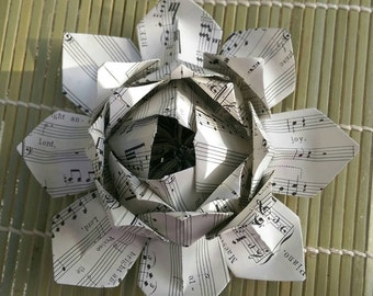 Paper Lotus Flower - Choir Music - Hymn Paper - Origami Lotus Flower - Wedding Decor - Table Decor - Handmade Paper Flower - Place Holder