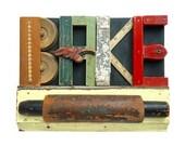 BAKE sign, kitchen sign, wood wall art, vintage rolling pin, architectural salvage, art typography, ORIGINAL ART by Elizabeth Rosen