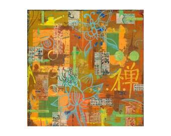 asian decor, zen art, 12x12 ORIGINAL painting, zen decor, zen wall art, yoga studio decor, by Elizabeth Rosen