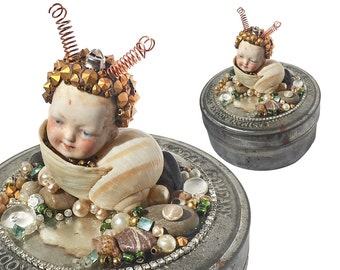 snail boy, encrusted box, art storage, tooth fairy box, whimsical art, mixed media assemblage, altered art doll by Elizabeth Rosen
