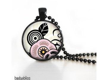 Pink floral pendant  - pink floral pendant necklace.