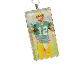 Green Bay Packer Necklace Aaron Rodgers Packer Jewelry Glass Tile Necklace, Domino, Silver Chain, Green Bay Packer Fan, Wife Gift