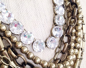 Gold Chain Statement Necklace Crystal Chain Seven Strand