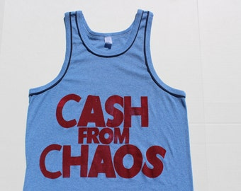 Punk Tank CASH from CHAOS-Rock Roll Swindle- Vintage vest top - ringer blue -Seditionaries-slouchy loose fit-blue navy medium large 38 40