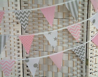 "Mini bunting, banner. Baby pink & grey/ gray.  Sold by the metre (39"") length. Chevrons, stars, spots, stripes. Modern, nursery, playroom."