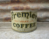 Vintage Tin Coffee Can Premier Blue Aged White Metal Tin Container Storage Display Country Farm Retro Kitchen Rustic Primitive Vtg Old