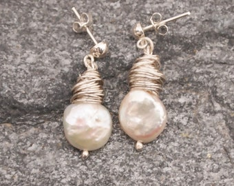 White Pearl Stud Dangle Earrings, Wire Wrapped, Coin Fresh Water Pearl