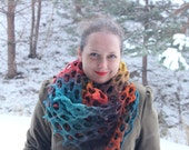SALE! 25% OFF! Sunny Valley. Boho scarf, knitted wrap, multicoloured scarf, bright colours, wool scarf, warm wrap, handmade, holey scarf
