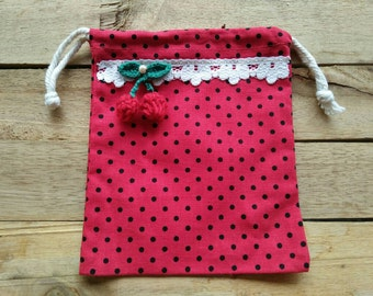 Drawstring Bag / Polka Dot Red Bag