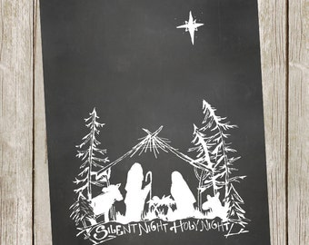Christmas Printable/Nativity/Silent Night - 11x14