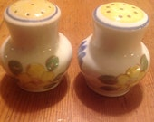 Red Wing Salt and Pepper Shaker Set, Brittany pattern, Hand Painted Pattern, Corked