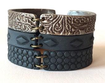Silver and Black Bracelet, stackable bracelets, Industrial Steampunk Inspired Jewelry, Silver Imprinted Cuff, Modern, Urban, Net, Minimalist