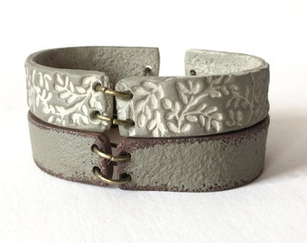 Mama Bracelet, Plant Patterned Bracelet, Stackable Cuff, Ombre Bracelet duo, Concrete Jewelry, Modern, Botanic, Delicate, Rustic